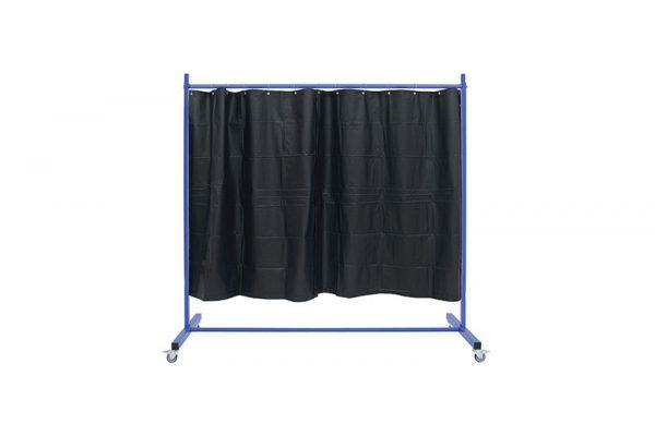 Ekran spawalniczy z ciemnozielonymi, matowymi zasłonami
