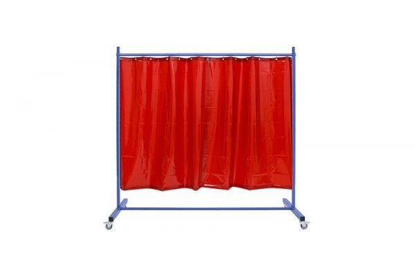 Ekran spawalniczy KinerFlex21Z z czerwonymi zasłonami