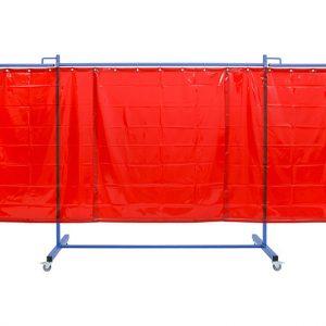Czerwony, mobilny, przeciwpromnienny ekran spawalniczy KinerFlex37D