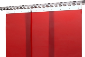 Kurtyny spawalnicze z czerwonych pasów folii spawalniczej