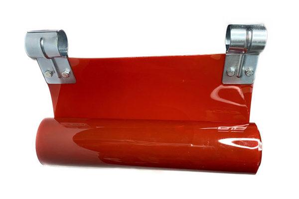Czerwony pas spawalniczy z obejmami zaciskowymi