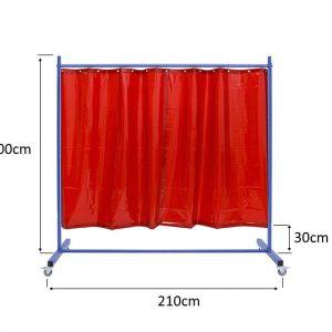 Zwymiarowany ekran spawalniczy KinerFlex21Z z czerwonym wypełnieniem z zasłon spawalniczych screenflex