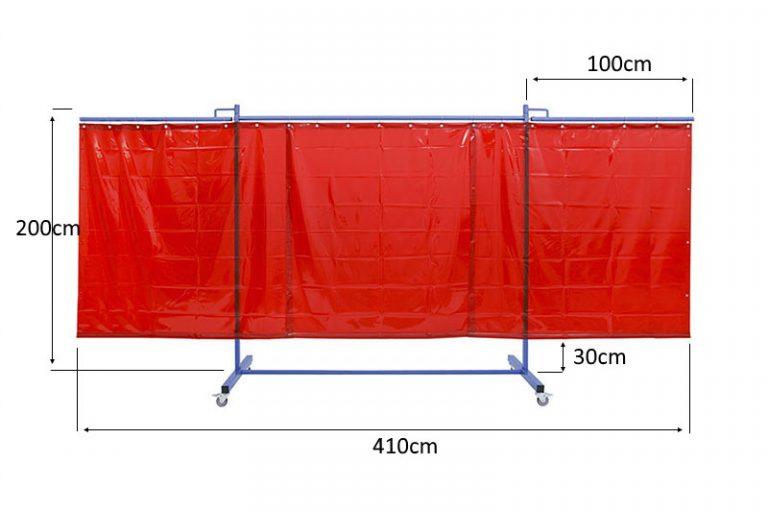 Mobilny ekran spawlniczy KinerFlex41Z o szerokości 410cm z rozkładanymi ramionami bocznymi, kazde o szerokości 100cm.
