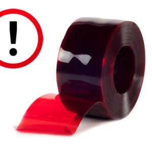 Folia ochronna czerwona, sygnalizacyjna używana jako skrajne pasy w kurtynach paskowych