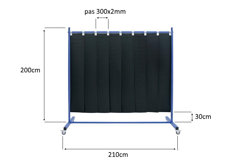 Wymiary ekranu spawalniczego mobilnego 210 z pasami 300x2mm