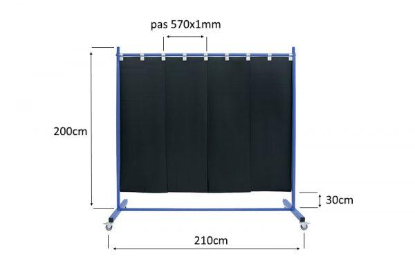 Wymiary mobilnego ekranu spawalniczego 210cm z pasami 570x1mm