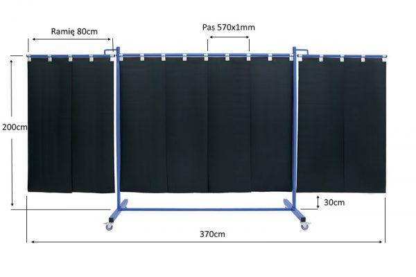 Wymiary ekranu spawalniczego, mabilnego KinerFlex 37 z pasami 570x1mm