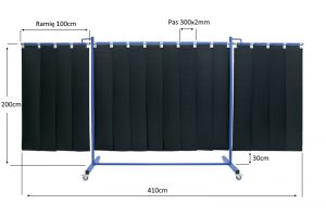 Wymiary ekranu spawalniczego KinerFlex 41 z pasami 300x2mm