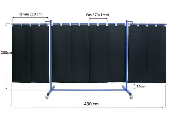 Wymiary mobilnego ekranu spawalniczego KinerFlex41 z pasami 570x1mm