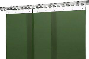 Kurtyny spawalnicze ciemnozielone, matowa z pasów foliowych