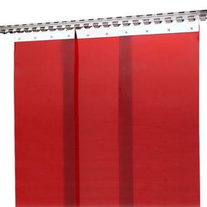 Kurtyna spawalnicza-czerwona 100x180 trudnopalna, przeciwpromienna