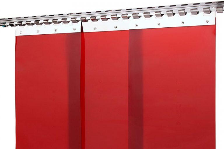 Kurtyna spawalnicza, paskowa, lamele czerwone, KIN-3