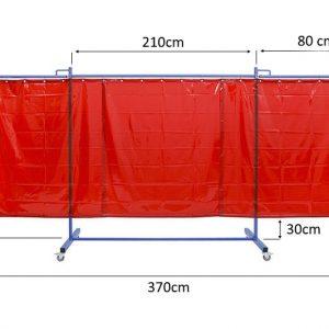 Ekran spawalniczy kinerflex37Z - wymiary stelaża oraz przykład wypełnienia zasłonami czerwonymi