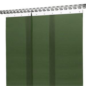 Ciemnozielona, matowa kurtyna spawalnicza filtrująca promieniowanie świetlne zgodnie z normą ISO 25980 - Kiner