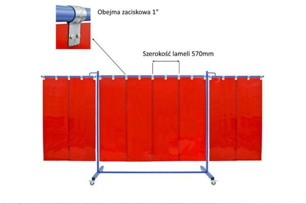Pasy spawalnicze czerwone o szerokości 570mm mocowane na obejmy zaciskowe