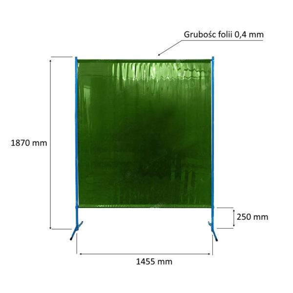 Ekran spawalniczy ES145 Kiner - 145cm szerokości idealny do wygradzania stanowisk spawalniczych