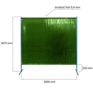 Ekran spawalniczy ES200 - wymiary przegrody przeciwpromiennej i ochronnej
