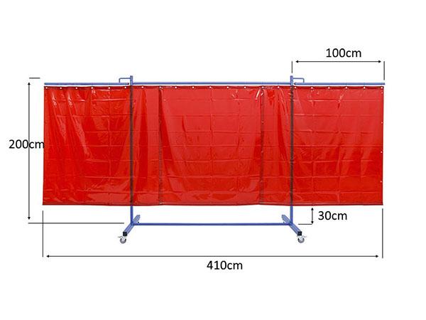 WYmiary dużego, mobilnego ekrany spawalniczego KinerFlex41Z