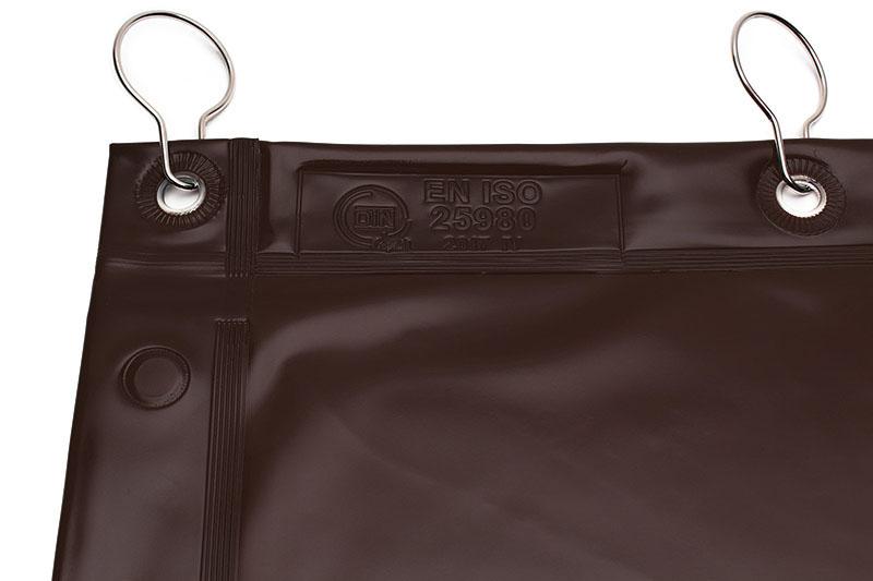 Zasłona spawalnicza brazowa z wytłoczona normą spawalnicza ISO 25980