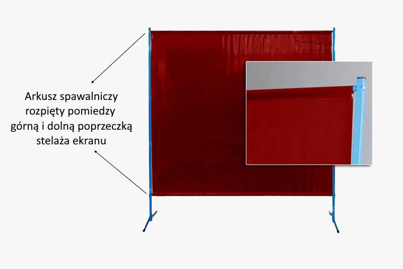 Arkusz spawalniczy czerwony na dolnej i górnej poprzeczce ekrany stałego. Wypełnienie przeciwpromienne ISO25980