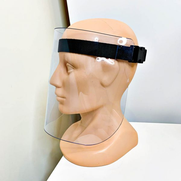 Przyłbica ochronna na twarz mocowana za pomoca bawełnianego paska