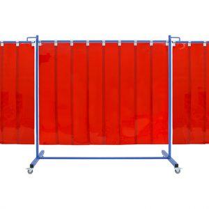 Czerwony, mobilny ekran spawalniczy KinerFlex 37 z pasami 300x2mm