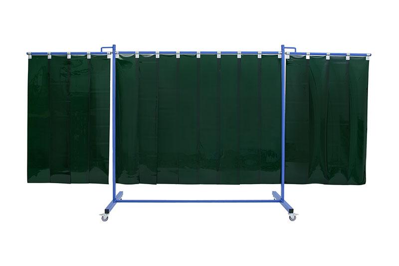 Zielony, mobilny ekran spawalniczy KinerFlex 37 z pasami 300x2mm