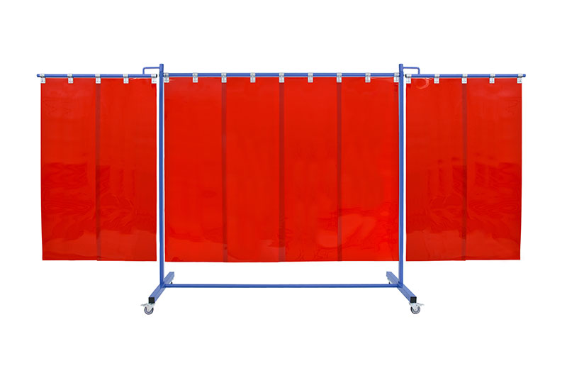 Czerwony ekran spawalniczy mobilny KinerFlex37 z pasami 570x1mm
