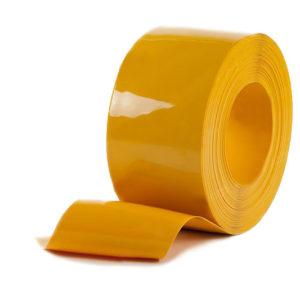 Żółte paskowe folie PCV, gładkie o błyszczacej powierzchni