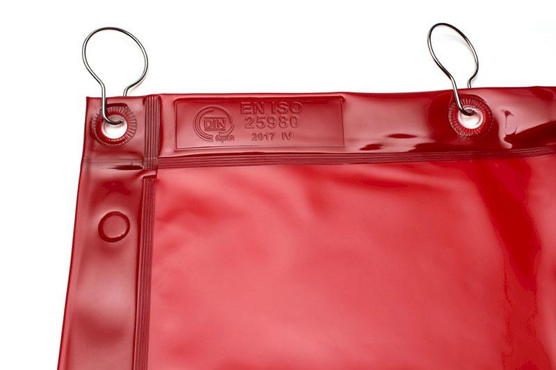 Czerwona zasłona spawalnicza o wysokiej przezroczystości z możliwością łączenia w długie kotary spawalnicze
