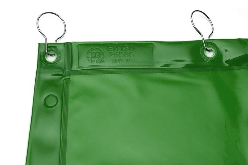 Zielone zasłony spawalnicze o średnim stopniu przezroczystości