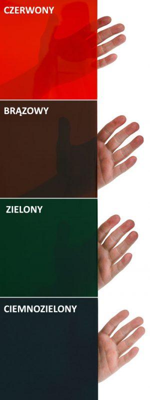 Poziomy przeroczystości połaczone z kolorami w jakich występują arkusze spawalnicze